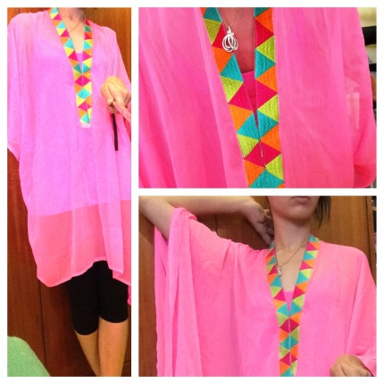 Pink Chiffon Kaftan Dress with Multi Coloured Border on Neck