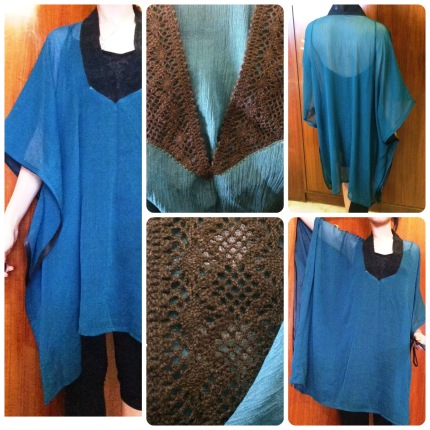 Deep Teal Chiffon with Crochet Neck & Satin Detailing